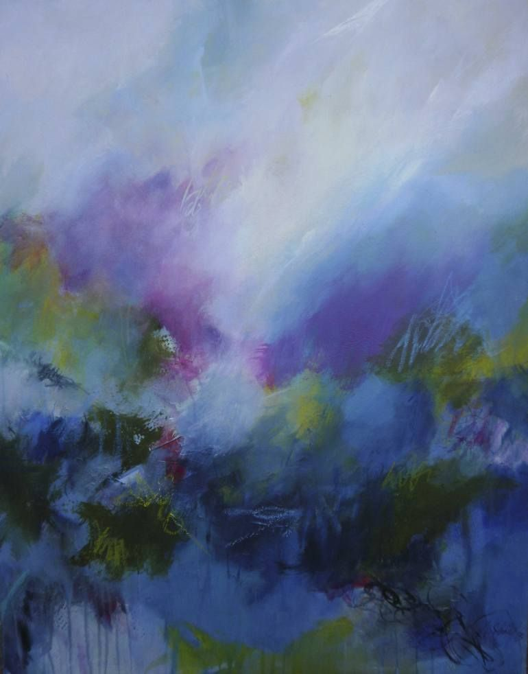 """""""Visions of light - intermittently,"""" blue abstract landscape painting by artist Anna Schueler 