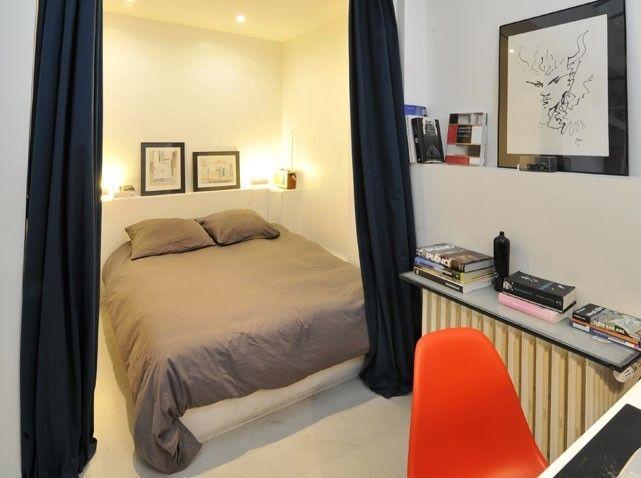 Aménager un deux pièces | Chambres, Alcôve et Espaces minuscules