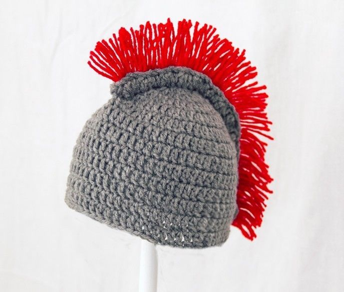 Spartan Mohawk Hat, Gray and Red, Knit / Crochet 300 Helmet Beanie ...