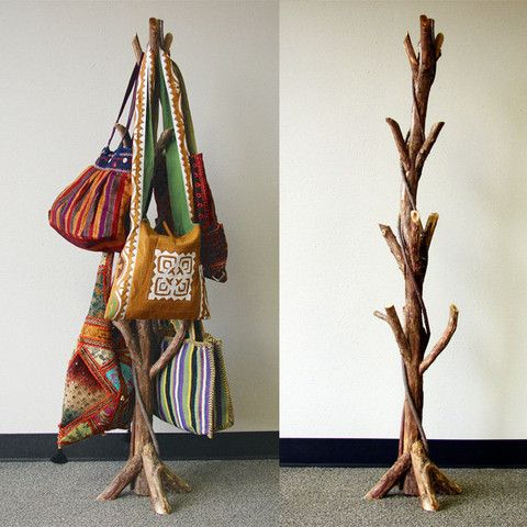 Fair trade wholesale bag tree display collection tree Ideas for hanging backpacks