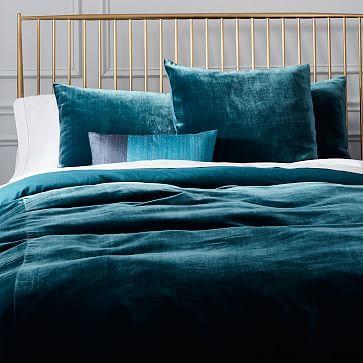 Luxe Velvet Duvet Cover Shams Blue Teal Westelm Teal Bedding Velvet Duvet Bedding Master Bedroom