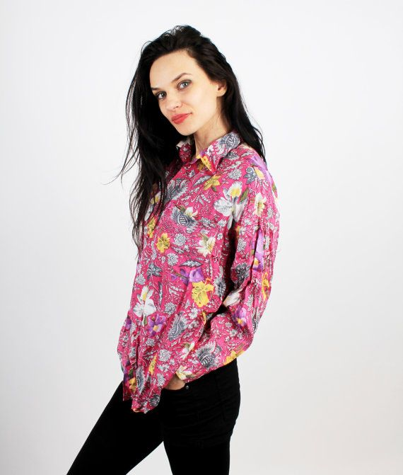 Vintage Pink Floral Buttoned Long Sleeve Men Shirt Size by Ramaci
