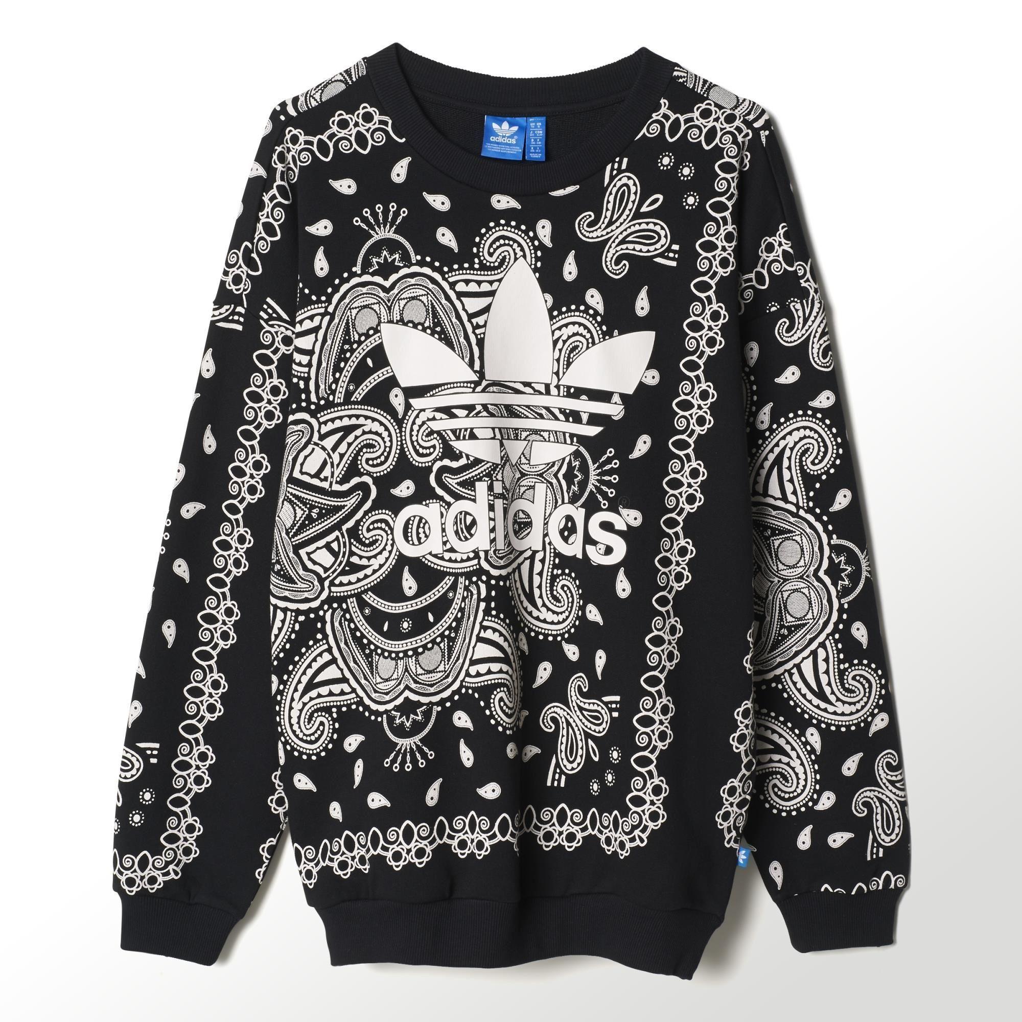 Adidas Paisley Sweat Adidas Us Clothes Fashion Women Long Sleeve Tops [ 2000 x 2000 Pixel ]