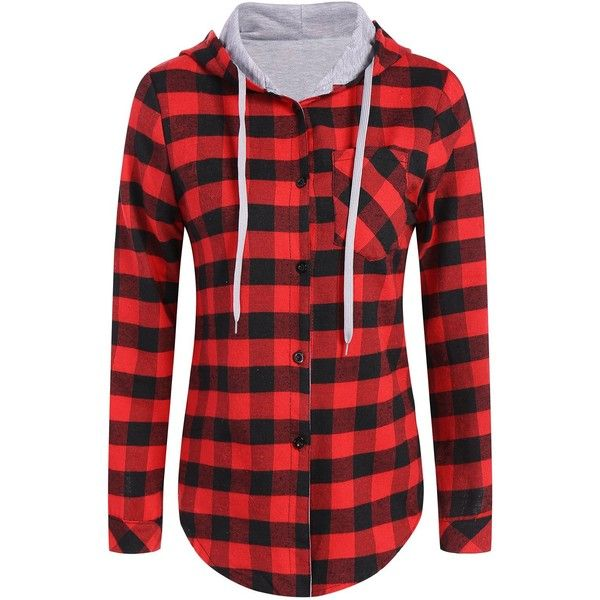 Hooded Checked Blouse (175 NOK) ❤ liked on Polyvore featuring tops, blouses, checked blouse, red blouse, checkered blouse, checkered top and hooded top