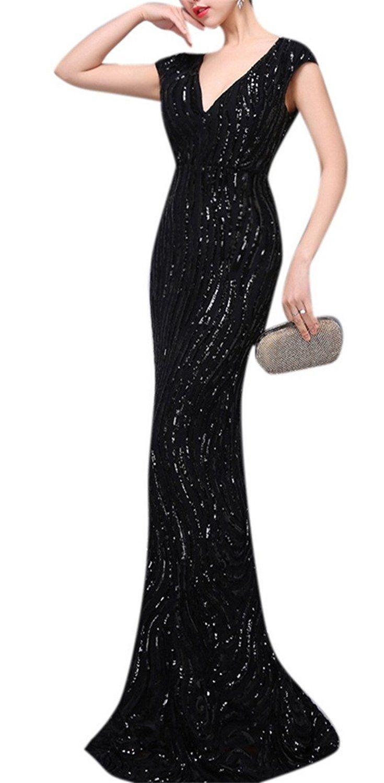 Womenus sparkly sequins double vneck long fishtail evening gown
