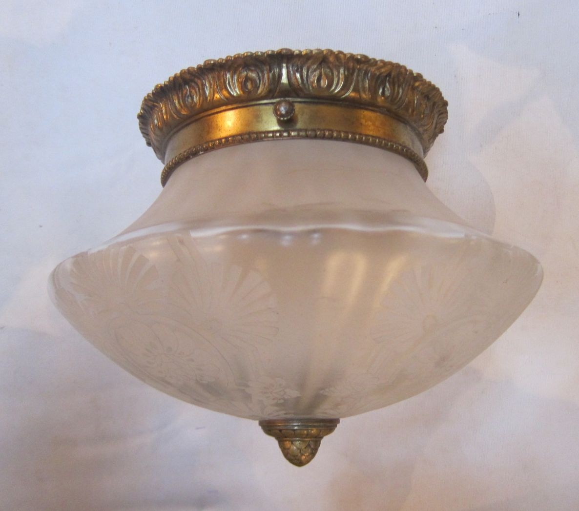 English Close Fitting Ceiling Light In The Original Gilt Brass Finish Complete With Superb Period Glass