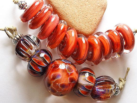 Lampwork Borosilicate Focal Bead CAYENNE Two by TwoSistersDesignss, $20.00