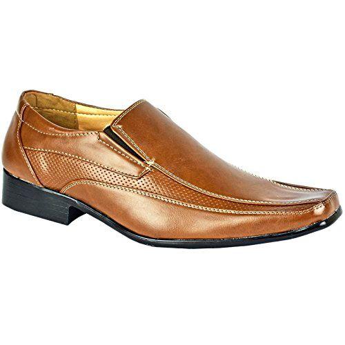 b52166ce340c MyShoeStore Mens Formal Shoes Faux Leather Smart Dress Wedding Black Tan  Office Business Work Evening Party