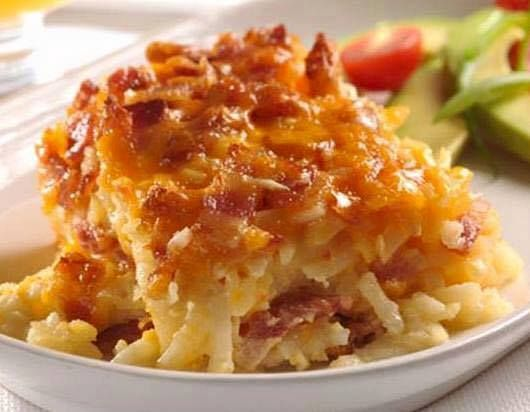Potato Bacon Casserole Recipe Side Dishes with hash brown, onions, bacon, shredded cheese, evaporated milk, eggs, salt