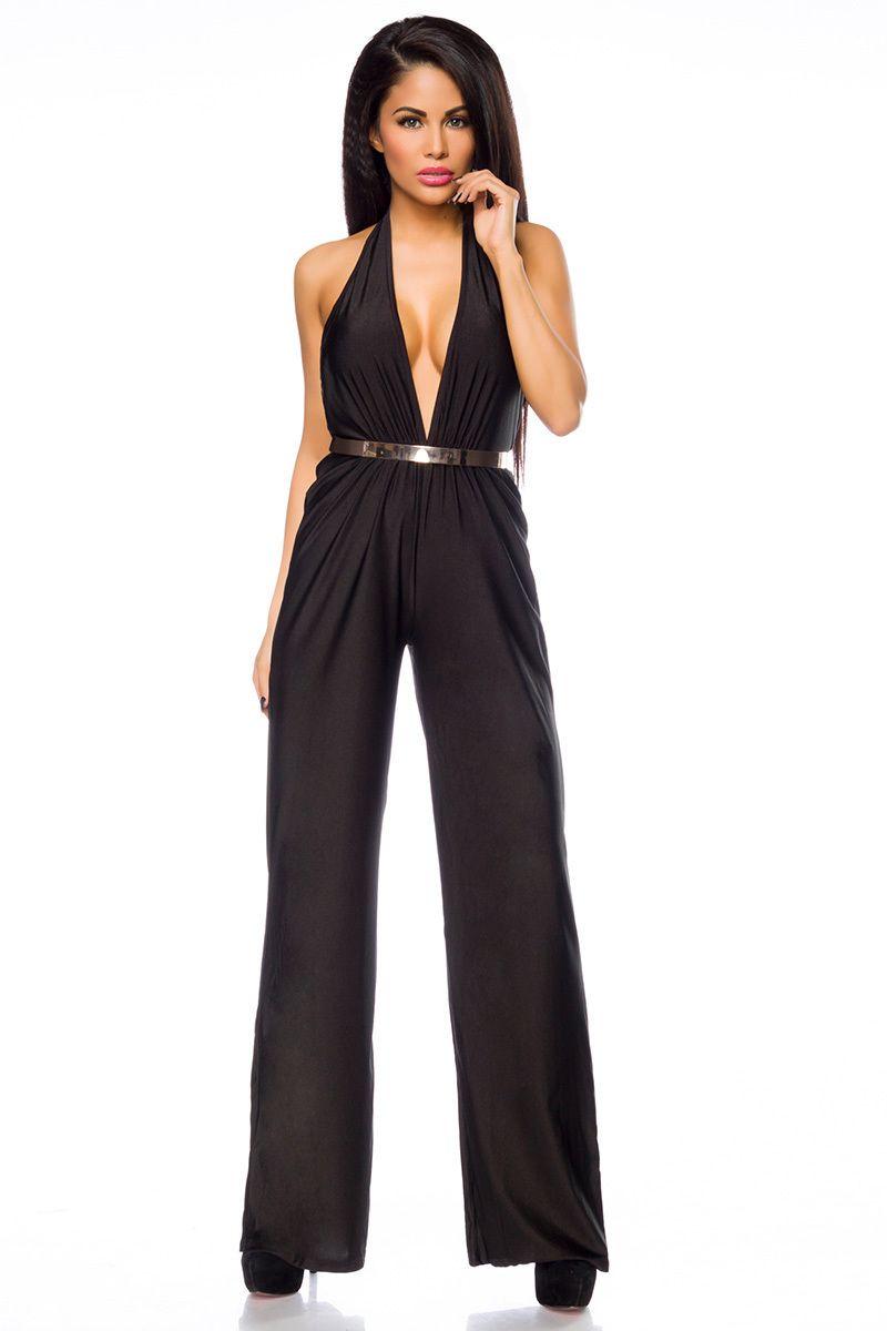 neckholder jumpsuit with belt - 14166   overall lang