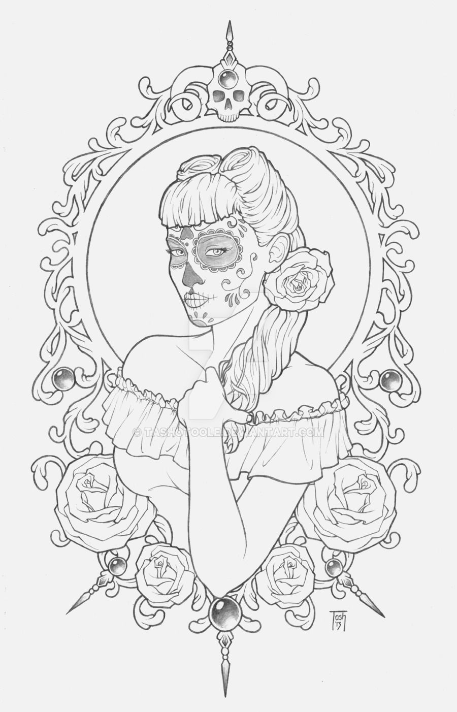 sugar skull by TashOToole.deviantart.com on @DeviantArt | Coloring ...