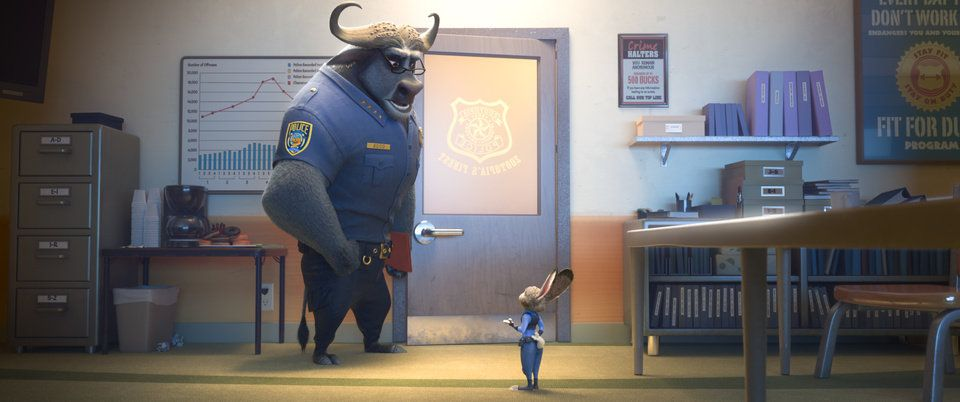 ZOOTOPIA – Pictured (L-R): Chief Bogo, Judy Hopps. ©2016 Disney. All Rights Reserved.