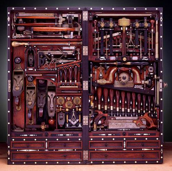 The justifiably famous Studley tool chest--and there are additional layers of tools. Just look how every inch of space is used beautifully.