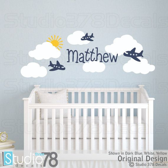 Airplane Wall Decals Nursery Clouds Personalized Monogram Baby Vinyl Children Decor Boys S This Set Of Cute