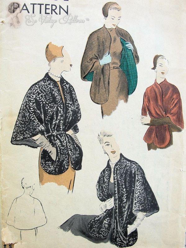 1950s Elegant Cape Stole Vintage Sewing Pattern Vogue 6914 Daytime ...