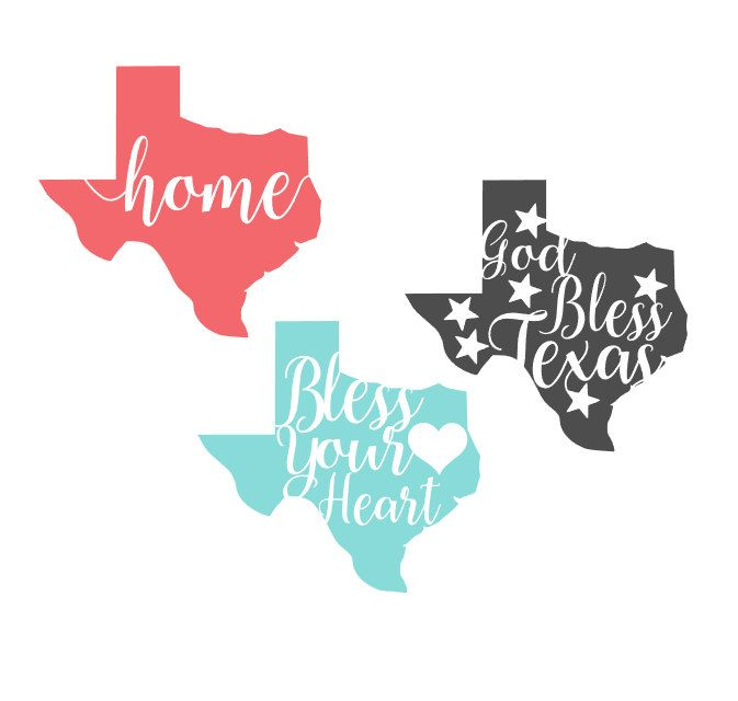 God Bless Texas Home Bless Your Heart Vinyl Decal By