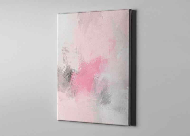 Bari Gallery ضباب وردي 1 لوحة كانفس لوحة فنية جدارية للمنزل Art