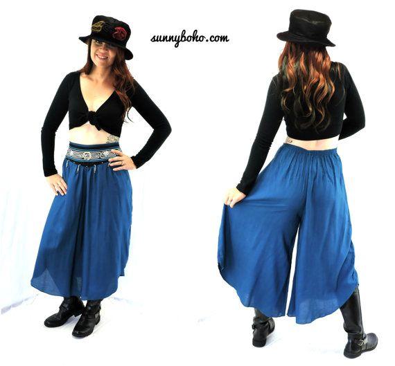 Vintage 80s boho tribal gaucho pants M teal by SunnyBohoVintage ...