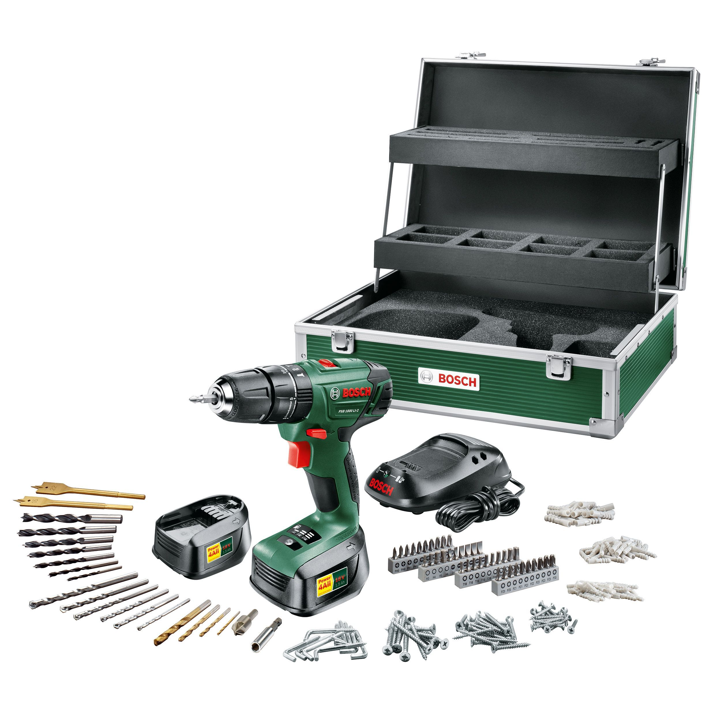 bosch cordless 18v li-ion hammer drill 2 batteries with toolbox psb