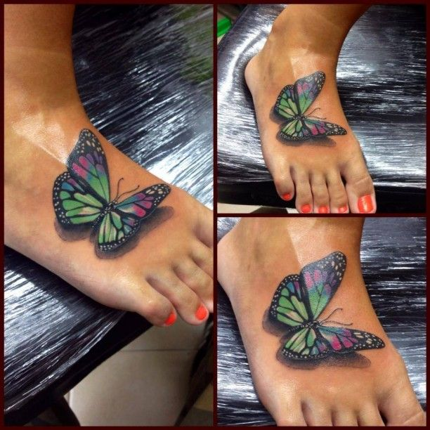 bunter schmetterling fuss tattoo 3d tattoo pinterest. Black Bedroom Furniture Sets. Home Design Ideas