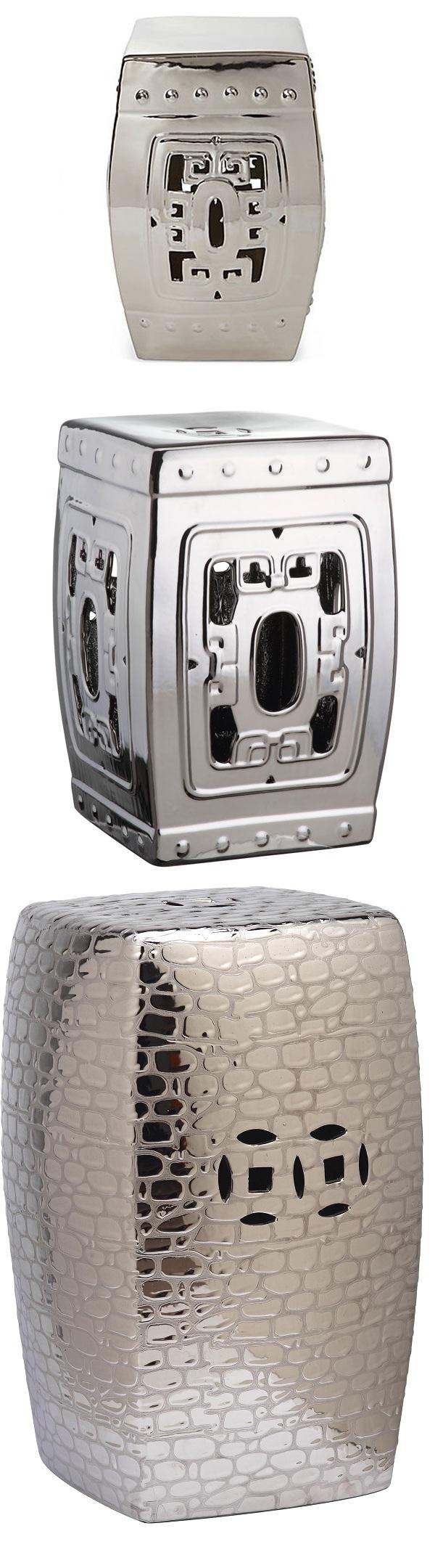 Silver Garden Stool | Silver Ceramic Stools | Silver Porcelain Stool | Silver Ceramic Stool |  sc 1 st  Pinterest & Silver Garden Stool | Silver Ceramic Stools | Silver Porcelain ... islam-shia.org
