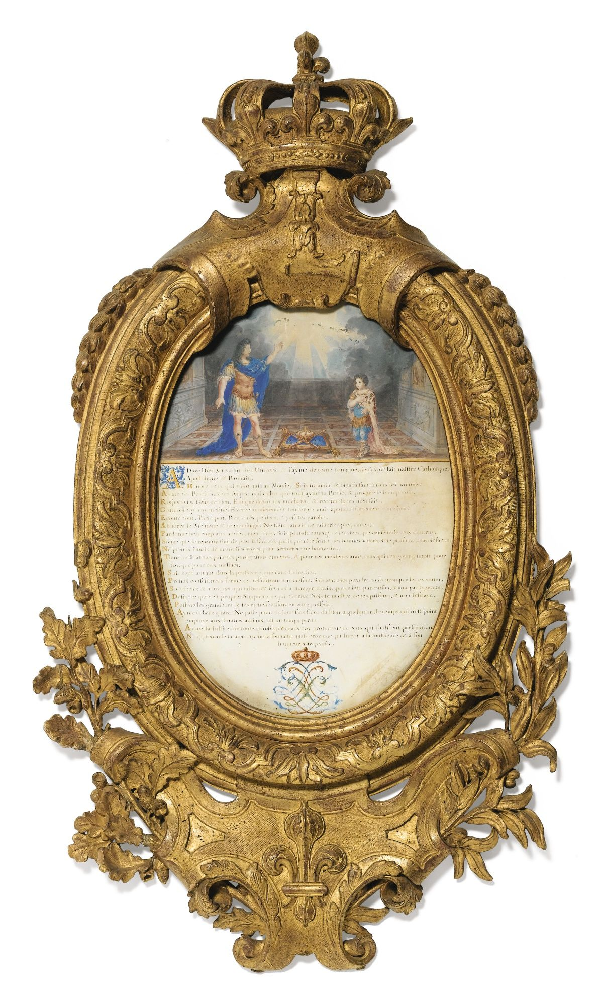 Louis Xiv Exhorting The Dauphin Ink And Oil On Vellum Circa 1670 In A Carved Giltwood Frame Cornici Disegni Di Alberi Legno