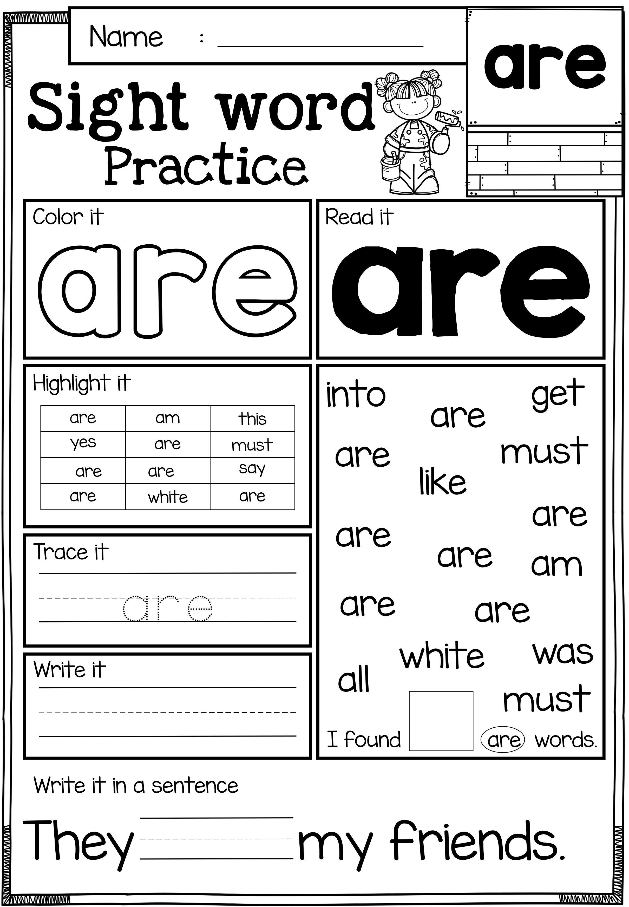 It's just a picture of Unusual Printable Worksheets for Kindergarten Sight Words