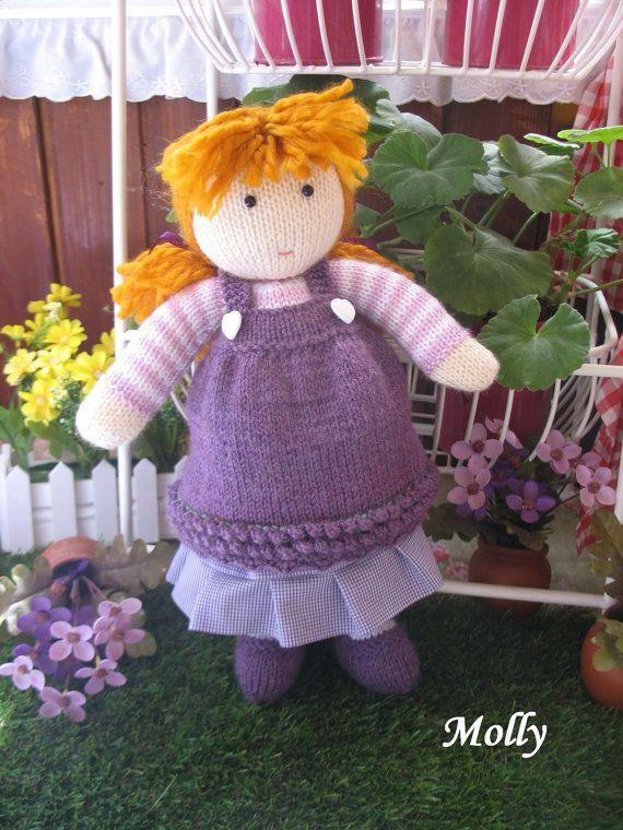 Molly   Hand knitted doll by dollsandbunnies on Etsy, $49.50