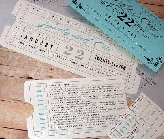 Formal Vintage Ticket Wrap Enclosure Invitation Suite For