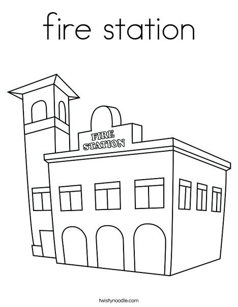 Fire Station Coloring Page From Twistynoodle Com With Images