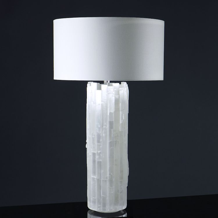 This Table Lamp Is Made With Chiseled Selenite And Itu0027s Cylinder Glows When  The Interior Body