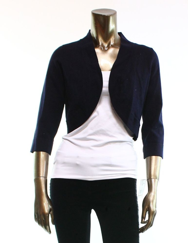 Jessica Howard NEW Navy Blue Open Front Shrug Sweater Women's Size ...