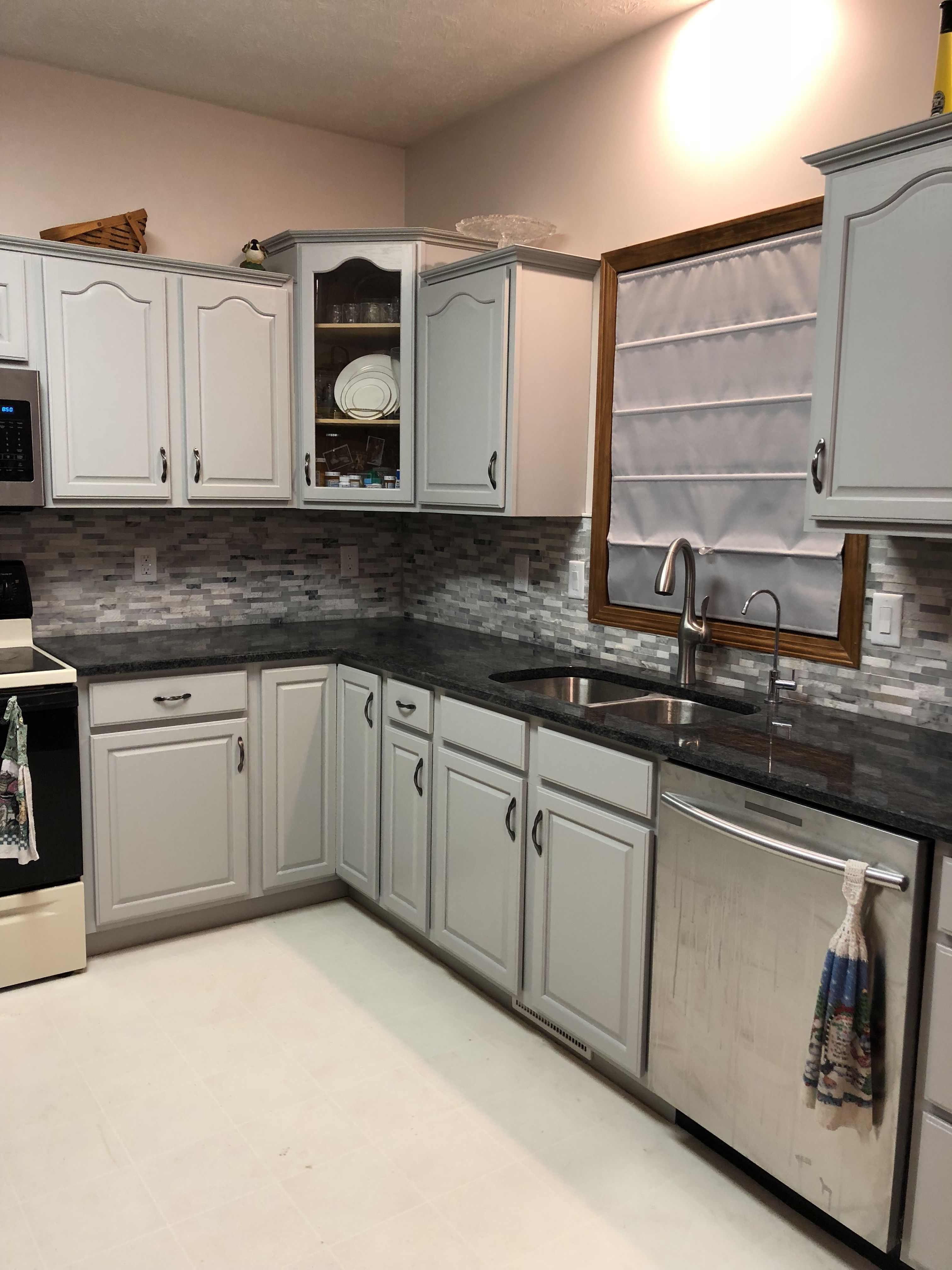 20 Year Old Oak Cabinets Painted With Benjamin Moore Advanced In Coventry Gray I Also Used The Benjamin Moore Ad Painting Cabinets Oak Cabinets Coventry Gray
