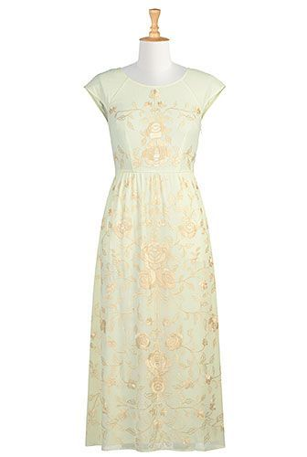 I <3 this Floral embellished georgette A-line dress from eShakti ...