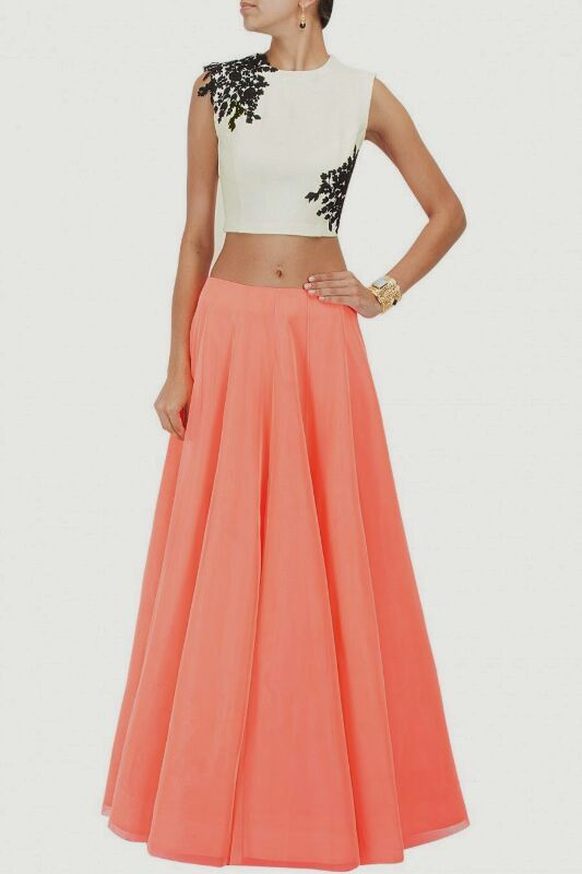 Designer Dress Flairy Long Skirt Crop Top Stylish Stunning ...