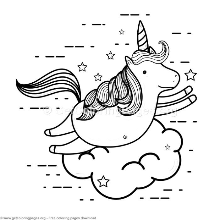 Happy Unicorn Coloring Pages Free instant download # ...