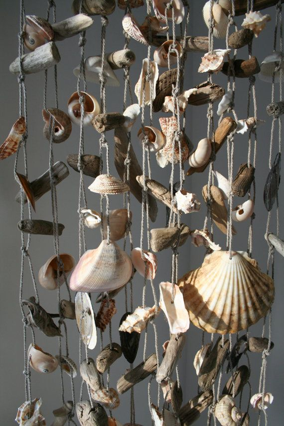 Large Driftwood Sea Shell Mobile Beach Wind by SkyLineDesign777
