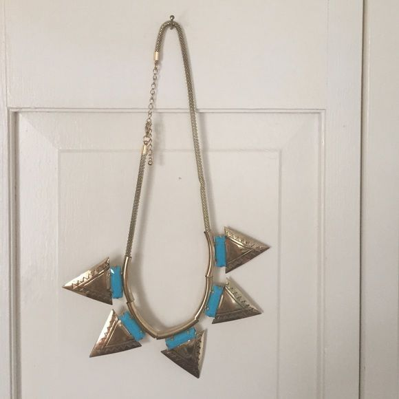 tribal gold & turquoise statement necklace Never worn, just don't wear big necklaces much anymore. Adjustable. Super cute! H&M Jewelry Necklaces
