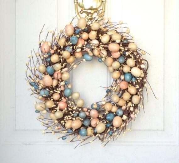 Easter Egg Wreath   peach blue pastel eggs  by laurelsbylaurie, $55.00