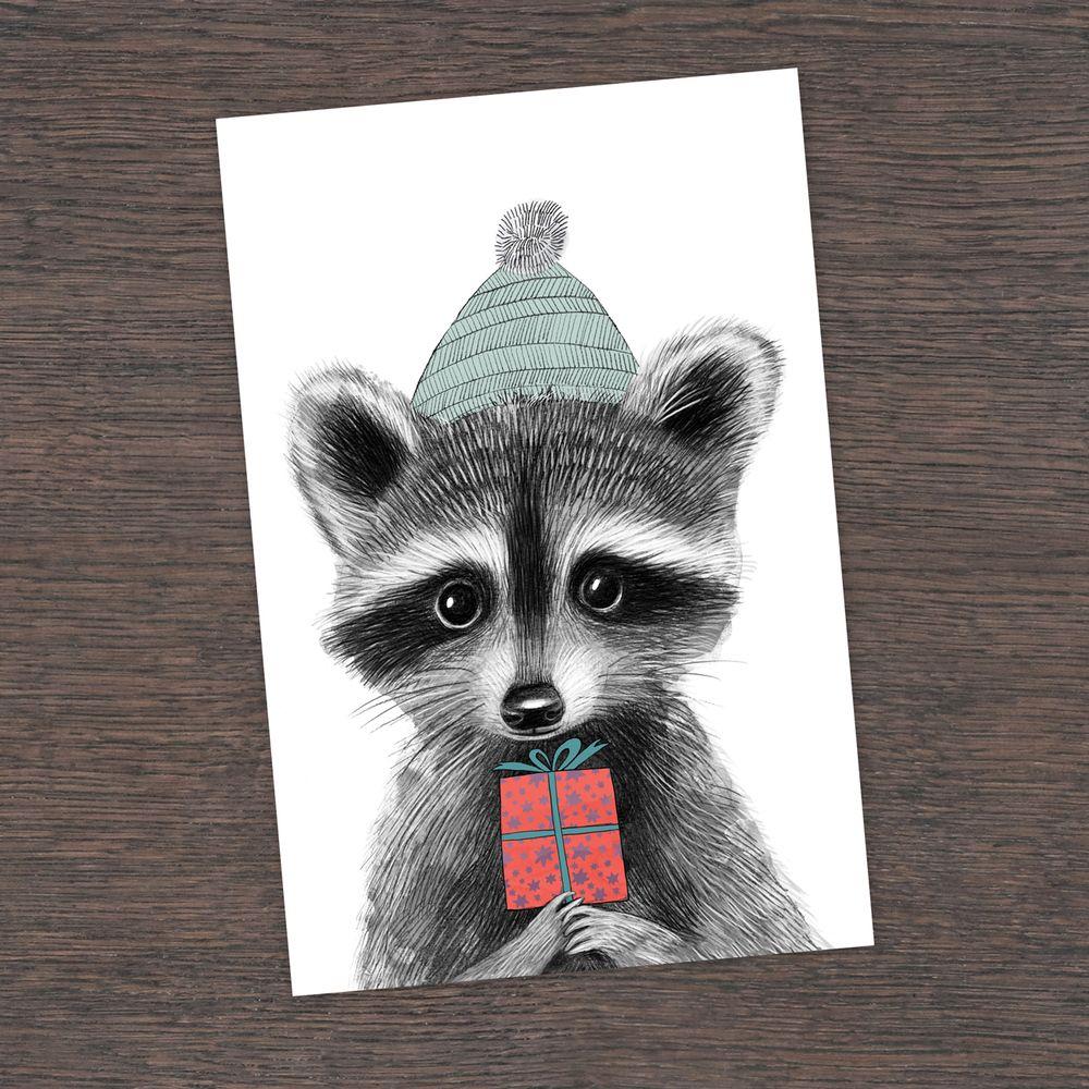 енот на открытках поставить