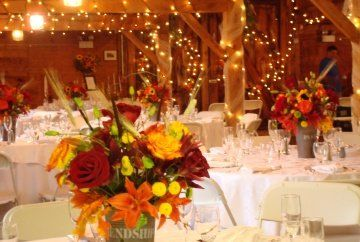 Fall Summer Brown Burgundy Green Orange Red Yellow Centerpiece Centerpieces Indoor Reception Outdoor Wedding Flowers