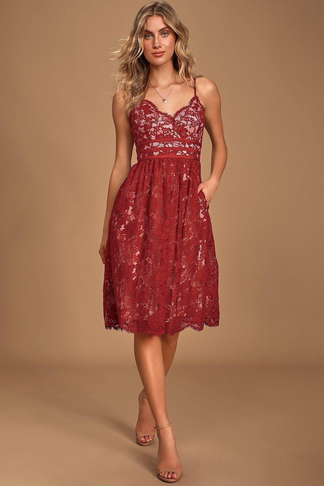 Treasure Me Wine Red Lace Midi Dress Red Lace Midi Dress Lace Midi Dress Midi Dress Sleeveless [ 1680 x 1120 Pixel ]
