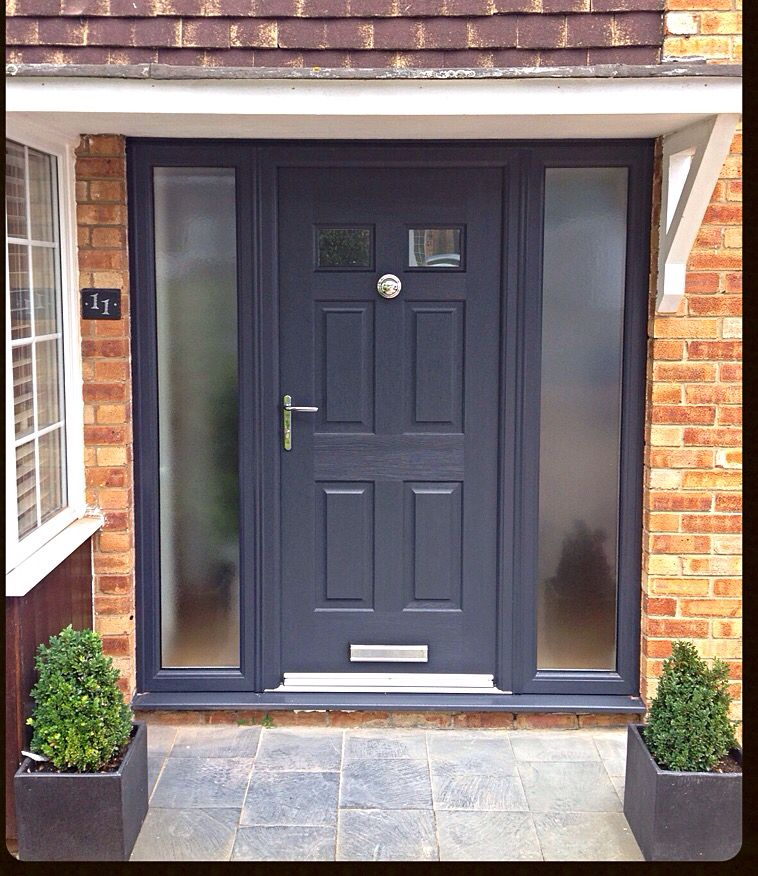 Grey composite rockdoor fitted in st albans back deck for Grey upvc porch