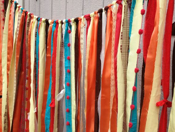 Rustic Fall Orange Red Yellow Fabric Wedding Garland
