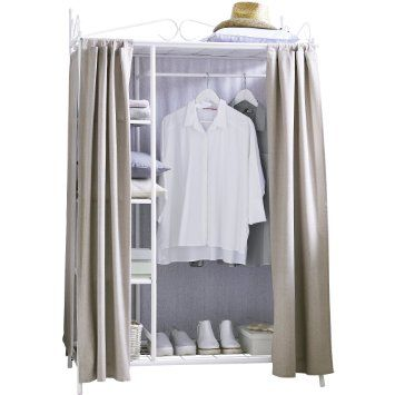 Kleiderschrank Metall weiß mit hochwertigem Vorhang aus Baumwolle und Polyester taupe Breezy Garderobe 109 x 57 x 171 cm