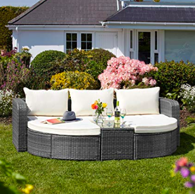 Amazing garden patio furniture sofa bed comfy UK Rattan ...