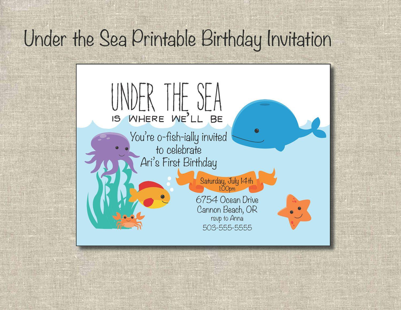 Under The Sea Printable Birthday Invitation Digital File
