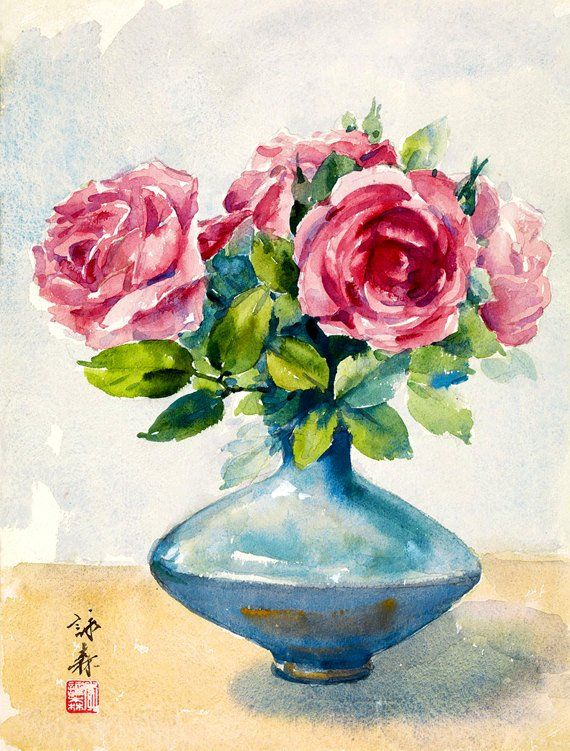 Chinese Art Roses Flower Watercolour Painting China Roses Fine