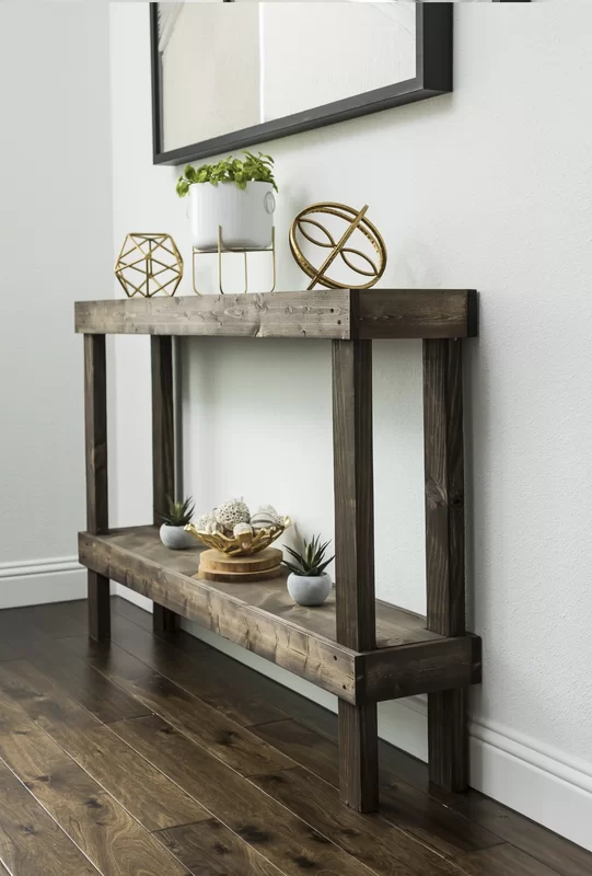 Union Rustic Dunlap Solid Wood Console Table Wayfair In 2020 Wood Console Table Wood Console Narrow Console Table