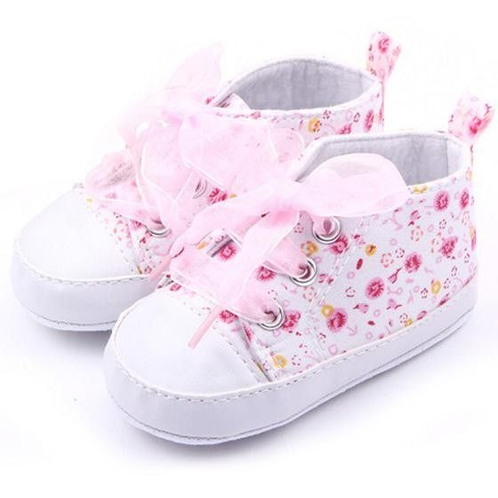 Newborn Infant Baby Girls Floral Crib Shoes Soft Sole Anti-slip Sneakers Canvas